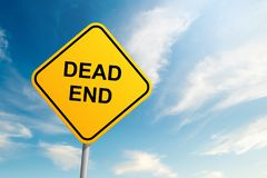 Dead end road sign with blue sky and cloud background. 1 royalty free stock photography