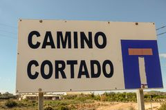 Dead end road. Sign in rural Spain stock photography