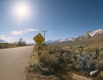 Dead End Road Sign. Dead End sign on a side road near Bishop, California near the Sierra Nevada Mountains Stock Photo