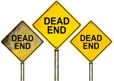 Dead End Road Signs Isolated on White Royalty Free Stock Images