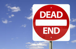 Dead end sign,. Dead end sign on blue sky with clouds Stock Photo