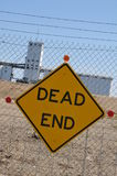 Dead End Sign. At End of Levee Canal Royalty Free Stock Image