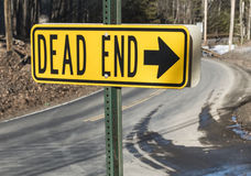 Dead End sign with arrow Royalty Free Stock Photos