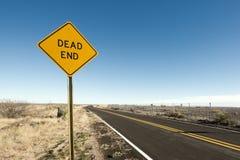 Dead End. Sign in the desert stock photos