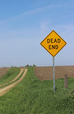 Dead End Sign. On dirt road in the country royalty free stock image