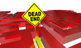 Dead End Sign Maze No Way Out Danger Warning. 3d Illustration Stock Images