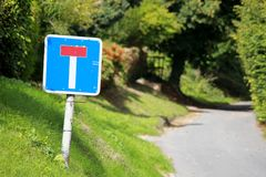 Dead End Signpost on a country lane Stock Image