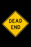 Dead end street sign isolated. Dead end sign isolated against a black background Stock Photo