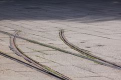 Dead-end track. Dead-end tram track in Oslo stock photo