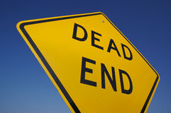 Dead End Traffic Sign. With Deep Blue Sky stock photo