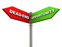 Dead end versus opportunity. Dead end on one side with opportunity on another direction, chrome road sign, with read and green direction arrow labels, white Stock Image