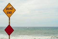 A dead end warning sign in San Diego Usa, America. A dead end warning sign in San Diego Usa America stock images