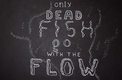 Only dead fish go with the flow. Motivational proverb. Hand drawn with chalk on dusty blackboard Stock Photo