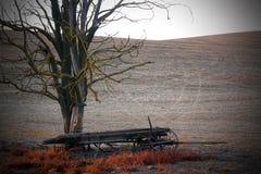 Dead Frontier Wagon. An abandoned desolate frontier buckboard wagon sits in a farmed field under a dead tree.  Copy space Stock Images