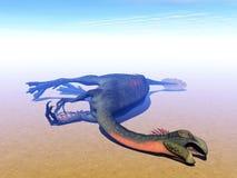 Dead gigantoraptor dinosaur - 3D render Stock Photo
