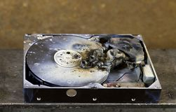Dead hard drive in close up Royalty Free Stock Images
