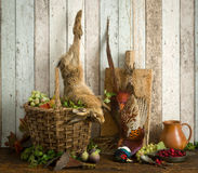 Dead hare in hunting still life Royalty Free Stock Image