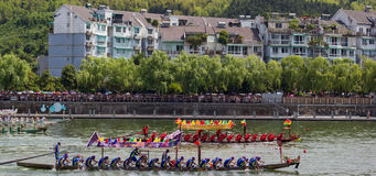 Dead heat Dragon Boat Festival Race stock images