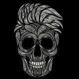 A dead hipster. Vector human skull from various patterns Stock Photo