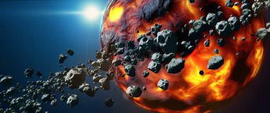 Dead hot lava planet and asteroid belt stock footage