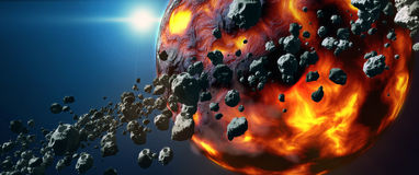 Dead hot lava planet and asteroid belt Royalty Free Stock Photography