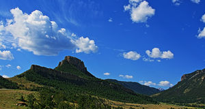 Dead Indian Pass - Clouds floating by - between Cody and Yellowstone National Park in Wyoming Royalty Free Stock Image