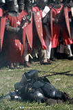 Dead knight 2. Dead knight and army on historical battle in Libusin / Czech republic Stock Images