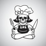 Dead Lady Skull Chef Logo Grinning with Fork, Knive, and Hat. Vector Drawing Stock Images