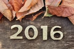 2016 and dead leaves Royalty Free Stock Photo