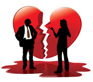 Dead love. People are talking, broken heart in the background Royalty Free Stock Photo