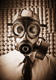 Dead man. Portrait of skull wearing classic gas mask Stock Images