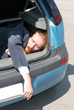 Dead man. In car boot Stock Images
