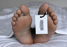 Dead man. Human feet with toe tag stock photos