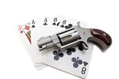 Dead Man's Hand. Derringer with Aces and Eights with Jack of Diamonds Royalty Free Stock Images