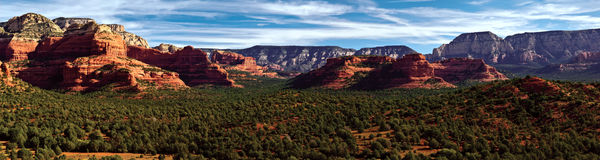 Dead Man`s Pass in Sedona`s Secret Mountain Wilderness. A panorama view of Dead Man`s Pass from the Aerie Trail on Doe Mountain near Sedona Arizona. This Pass is Stock Photos