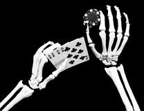 Dead mans hand. Skeleton with aces & eights - the dead mans hand Stock Image