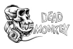 Dead monkey skull. With headphones and inscription, isolated on white background vector stock illustration