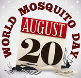 Dead Mosquitoes, Old Loose-leaf Calendar, Malaria Draw  for Mosquito Day, Vector Illustration Stock Photos