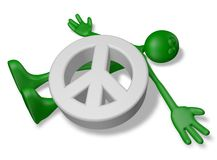 Dead by peace. Dead cartoon guy under pacific symbol - 3d illustration Stock Photos