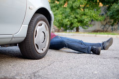 Dead pedestrian after a car accident Royalty Free Stock Images