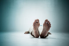 Dead person. Focus at the Feet Stock Photos