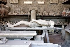 Dead person`s remains in Pompeii royalty free stock photography