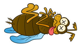 Dead pest insect. Funny cartoon dead insect. Vector pest series stock illustration