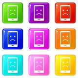 Dead phone icons 9 set Stock Image