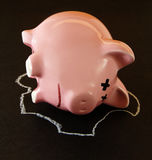 Dead Piggy Bank with Chalk Outline Royalty Free Stock Photo