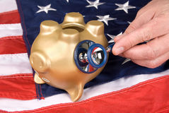 Dead piggy bank in tough economic times Royalty Free Stock Images