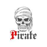 Dead pirate skull symbol for tattoo design Stock Photography