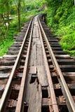 Dead railway beside cliff along Kwai river Stock Photo