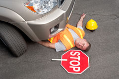 Dead road worker Stock Photo