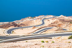 Dead 's sea road area in Jordan. Royalty Free Stock Photo